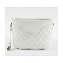 Carpisa Bag White Quilted Cosmetic/Makeup Travel Bag