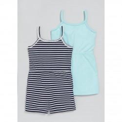 MATALAN Jumpsuit, Girl's Summer Striped Short Jumpsuit