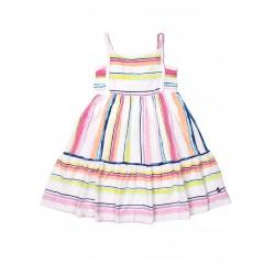 NAUTICA Dress, White Striped Sleeveless Frock For Girl's