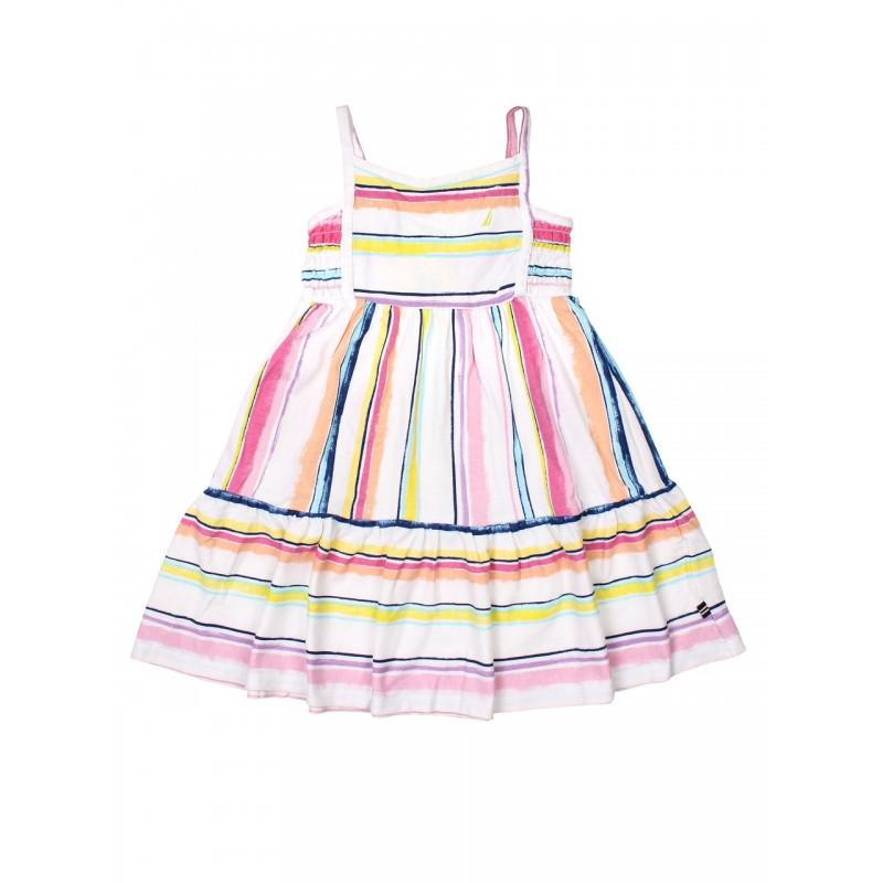 NAUTICA Dress, White Striped Sleeveless Frock For ...