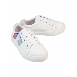 George Sneakers, White Sneakers with Glitter For Kid's