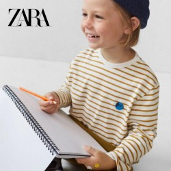 ZARA Blouse, For Kid's Striped with a Round Neck and Long Sleeves