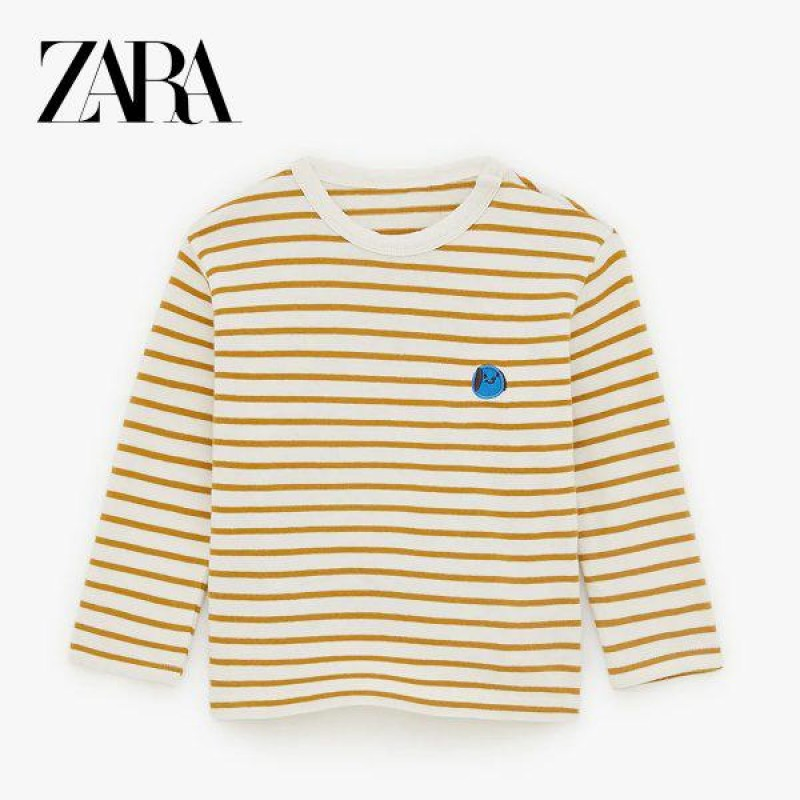 ZARA Blouse, For Kid's Striped with a Round Neck a...