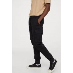 H&M Pants, Cargo Cotton Jogger For Men's, Black