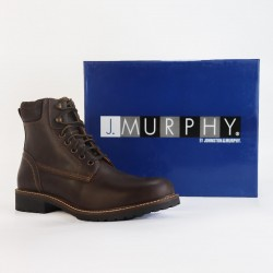 J.Murphy Boot, Plain Toe Safety Boot, Brown Leather