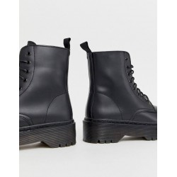 Glamorous Boots, Lace Up Chunky Sole Flat Boots, Black Matte