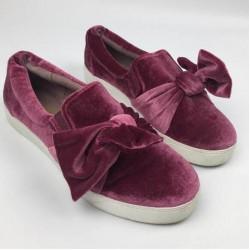 Libby Edelman Sneaker, Caitlyn Shoe-Dark Mauve-Faux Velvet