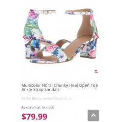 Nicole miller Heel, Multicolor Floral Chunky Heel Open Toe Ankle Strap Sandals