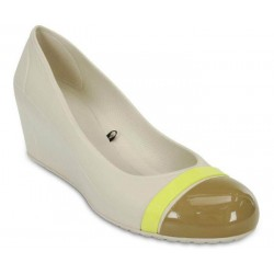 Crocs Shoes, Cap Toe Stucco/Olive Women Wedge