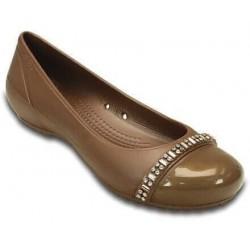 Crocs Shoes, Cap Toe Rhinestone Band Flat For Women's, Bronze