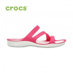Crocs Sandal, Unisex Swiftwater Pink/White Relaxed Sandal