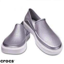 Crocs Shoes, Women's 'Silver Metallic' Standard Fit Shoes