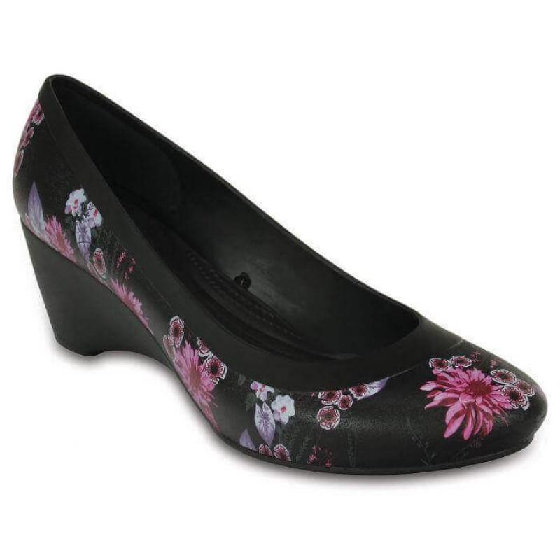 Crocs Shoes, Lina Black/Plum Women Wedge