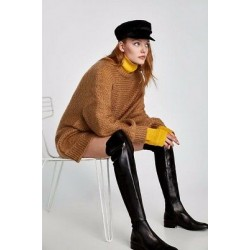 Zara Women Flat leather over-the-knee boots