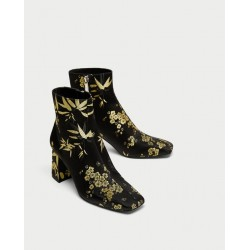 ZARA Boots, Printed High Heel Ankle Boots