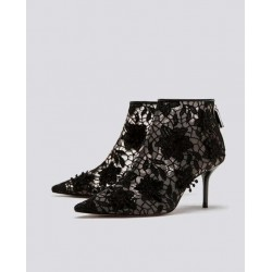 ZARA Boots, Lace High Heel Ankle Boots