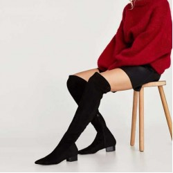 ZARA Boots, Black Over the Knee Boots