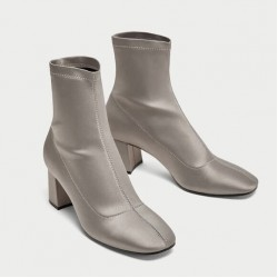 ZARA Boots, Satin Block Heel Ankle Boots
