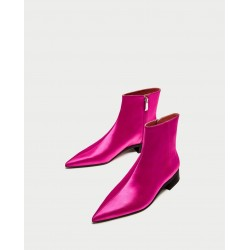 ZARA Boot, Sateen Pointed Toe Ankle Boot