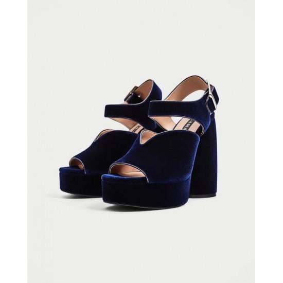 ZARA Sandals, Velvet Finish with Blue Heeled 12.5cm