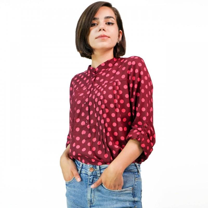 Silk Weavers Shirt, Print Long Sleeves Shirt For W...