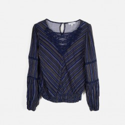 E&M Shirt, Lace V-neck with Long Sleeves For Women's