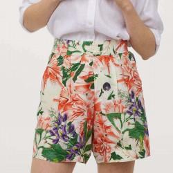 H&M Shorts, High Waist, Creamy and Flower