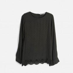 MANGO Shirt, Black Long Sleeve Shirt For Women's