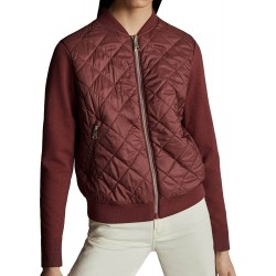 Massimo Dutti  Jacket, Puffer with Contrast Knit Sleeves