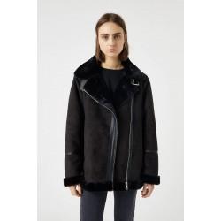 PULL&BEAR Jacket, Black Suede jacket