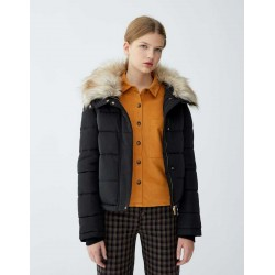 PULL&BEAR Jacket, Quilted with Faux Fur Collar, Navy Color