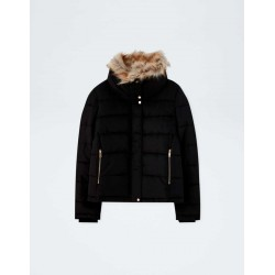 PULL&BEAR Jacket, Quilted with Faux Fur Collar, Black Colour