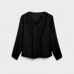 RIVERS Blouse, Bambula Blouse in Modern Design For Women's, Black