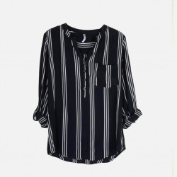 Silk Weavers Shirt, Striped Long Sleeves Shirt For Women's