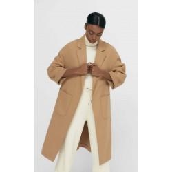 Stradivarius Coat, Long Modern Coat with Large Pockets