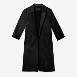 Stradivarius Coat, Faux Suede Coat, Black