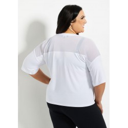 Bebe Blouse, Sport Mesh Trim Logo Tee Overshirt