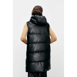 ZARA Vest, Women's Long Faux Leather Gilet