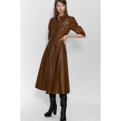 ZARA Shirt Dress, Faux Leather Shirt Dress