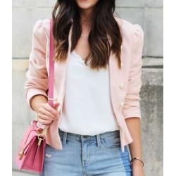 ZARA Blazer, Pink with Pearls Velvet Coat