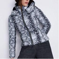 ZARA Jacket, Snakeskin Print Puffer Jacket