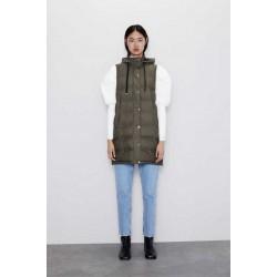 ZARA Vest, Puffer Long Gilet With Zips