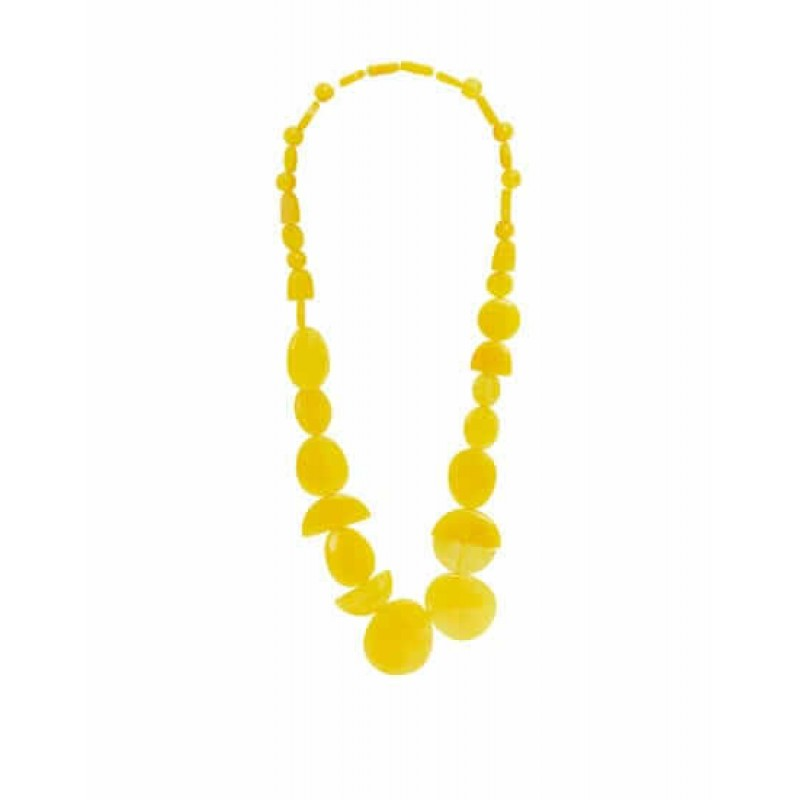 PULL&BEAR Necklace, Yellow Resin Stone Necklac...